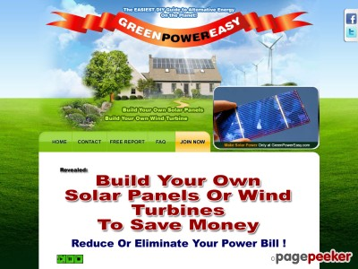 Green Power Easy – The EASY DIY Guide to Solar and Wind Power for Your Home. Build Your Own Solar Panel, Build Your Own Wind Turbine – Reduce Your Energy Bills By 100%