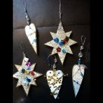 glitzy Xmas ornaments from cereal box, recycle, reuse, repurpose, do it yourself holiday ornament